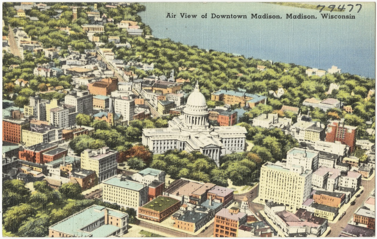 Air view of Downtown Madison, Madison, Wisconsin