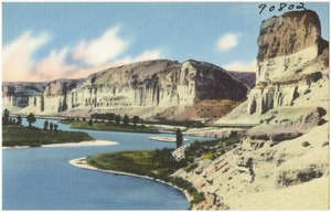 Toll Gate Rock and the Palisades, along Green River and Hwy. U.S. 30 (Lincoln Highway) in Wyoming near the town of Green River.