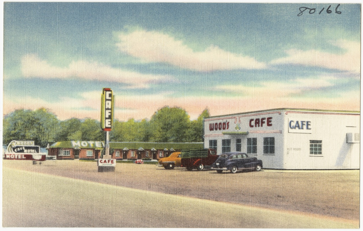 Wood's Motel & Café, ultra modern and steam heat, located East Evanston, Wyoming, on Hiway 30S