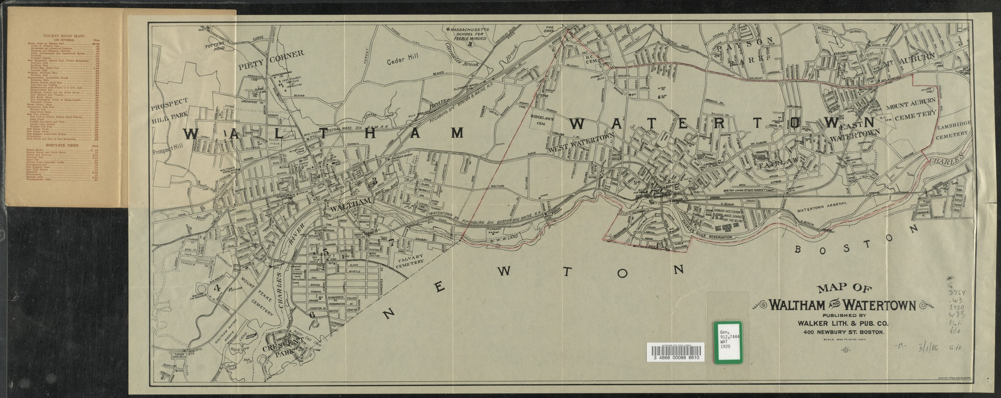 Map of Waltham and Watertown.