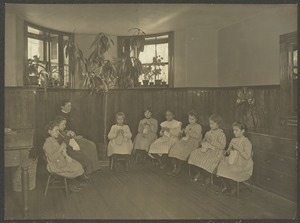 Class in Knitting, Manual Training, Girls' Kindergarten