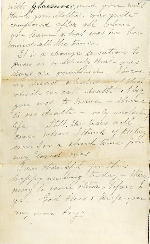 Letter from Lydia Warren Joy to her son William Franklin Draper Jr