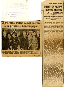 Phare de France honors memory of J. Jusserand; Princess Margaret Boncompagni is promoted in Legion