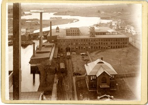 View of Draper Company Main Office, Mill River and Hopedale Pond, Hopedale (Mass.)