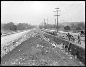 Distribution Department, Low Service Pipe Lines, trench, on Beacon Street, near Chestnut Hill Reservoir, looking east, Boston, Mass., May 29, 1896