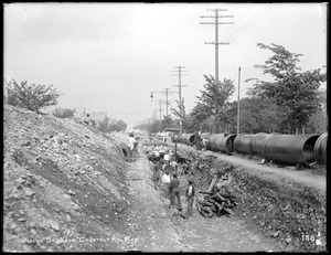 Distribution Department, Low Service Pipe Lines, trench work on Beacon Street, near Englewood Avenue, looking east, Boston, Mass., May 29, 1896