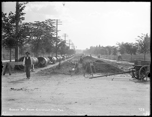 Distribution Department, Low Service Pipe Lines, trench work on Beacon Street, near Corey Road, looking west, Boston, Mass., May 29, 1896