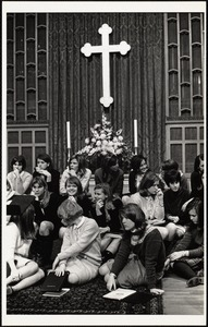 Pine Manor students at rehearsal of P.M. - Bowdoin concert - Wellesley Hills Congregational Church 2/67