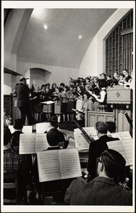Rehearsal Pine Manor - Bowdoin concert 2/67. Donald Hicks, conducting