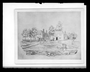Drawing or print of outdoor scene by Webster Lane, includes Seth S. Hersey house 632 Main St.