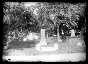 Cemetery view shows Abiah Baker memorial stone
