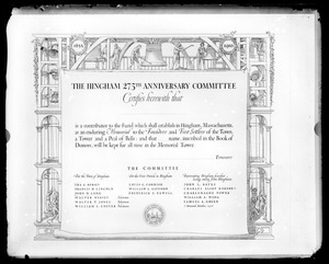 Hingham 275th anniversary contributor certificate