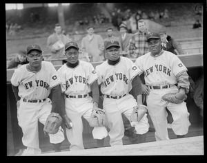 New York Giants infield: left to right, Monte Irwin, Art Wilson, Henry Thompson and Ray Noble