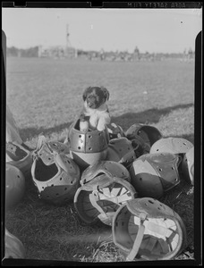 Bear cub mascot with helmets