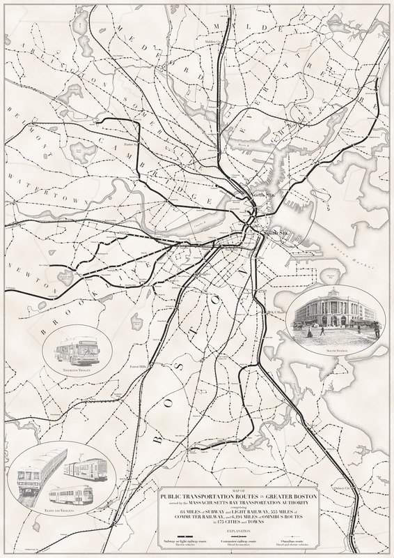 Map of public transportation routes in Greater Boston served by the Massachusetts Bay Transportation Authority comprising 64 miles of subway and light railway, 555 miles of commuter railway, and 6,194 miles of omnibus routes in 175 cities and towns