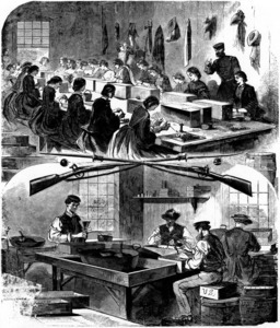 Sketch of workers at the Arsenal during the Civil War.