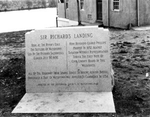 Granite tablet marking Sir Richard Saltonstall's landing in 1630.