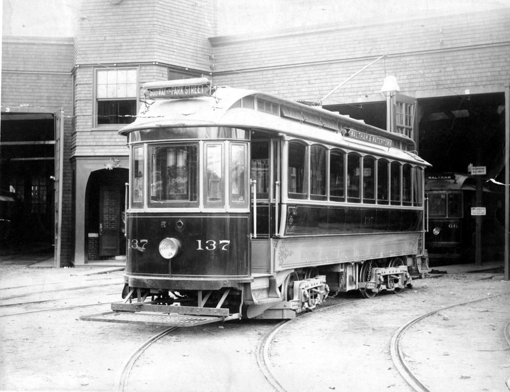 Railway car (#137) at Boston and Middlesex Street Railway.