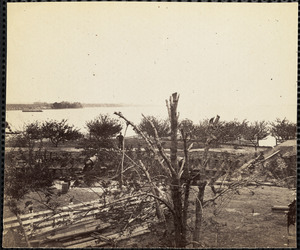 View of Yorktown Virginia Federal battery in foreground May 1862