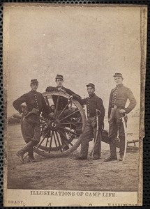 Corporals Neville, McLaughlin, Hanna and Perrin (left to right) all killed Battery C., 1st Rhode Island Light Artillery, Winter of 1861-2 Miner's Hill Virginia, Illustrations of Camp Life