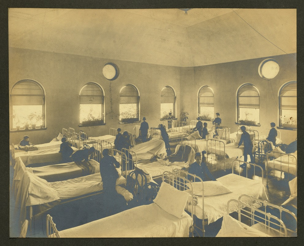 Bed making in Cottage A, Overbrook School for the Blind, Philadelphia