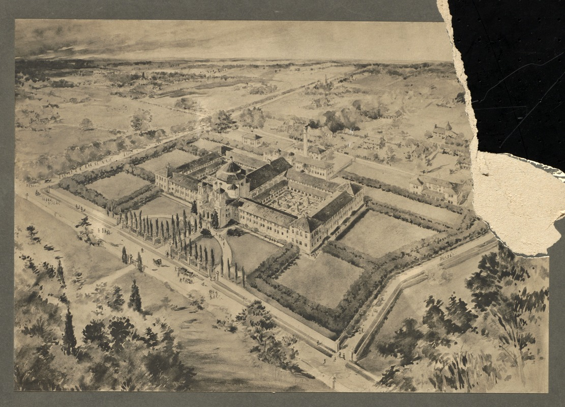Bird's eye view (from water color drawing), Overbrook School for the Blind, Philadelphia