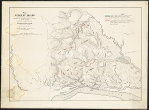 Map of the Field of Shiloh, near Pittsburg Landing, Tenn. shewing the positions of the U.S. forces, under the command of Maj. Genl. U.S. Grant, U.S. Vol. and Maj. Genl. D.C. Buell, U.S. Vol. on the 6th and 7th of April, 1862