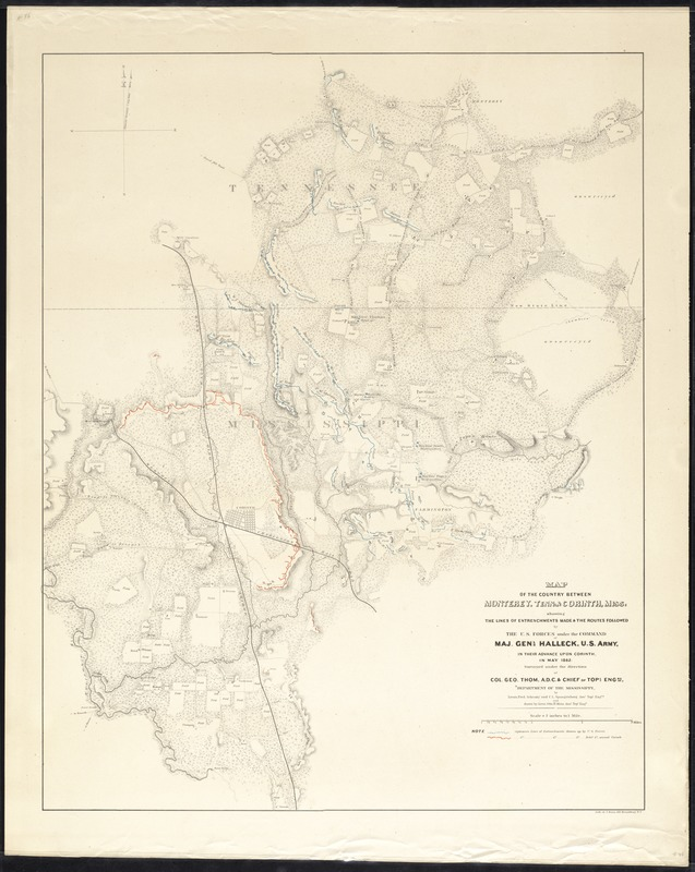 Map of the country between Monterey Tenn Corinth Miss showing