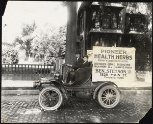 Pioneer Health Herbs advertisement on automobile