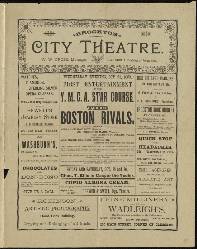 First entertainment in the Y.M.C.A. Star Course : the Boston Rivals