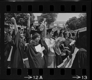 Row of students at Brandeis University commencement exercises