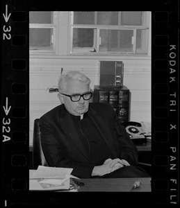 Rev. F.X. Shea, Executive Vice-President of Boston College, during sit-in by 30 black students
