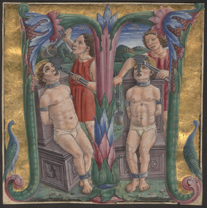 Historiated initial 'T' showing the martyrdom of two saints
