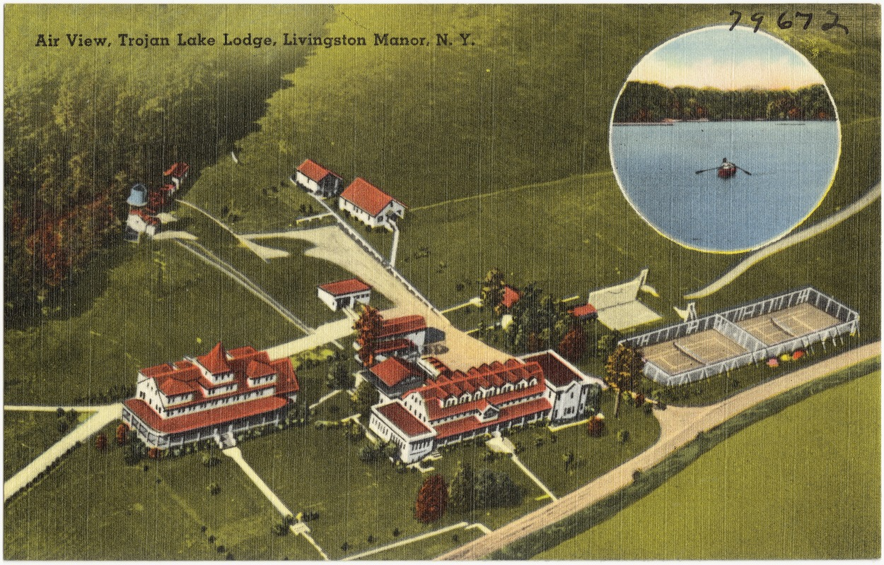 Air view, Trojan Lake Lodge, Livingston Manor, N. Y.
