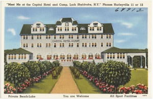 """""""Meet me at the Capitol Hotel and Camp, Loch Sheldrake, N.Y."""" Phones Hurleyville 11 or 12"""