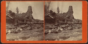 View of west wall and waste gate, Reservoir [dam ruins]--Williamsburg