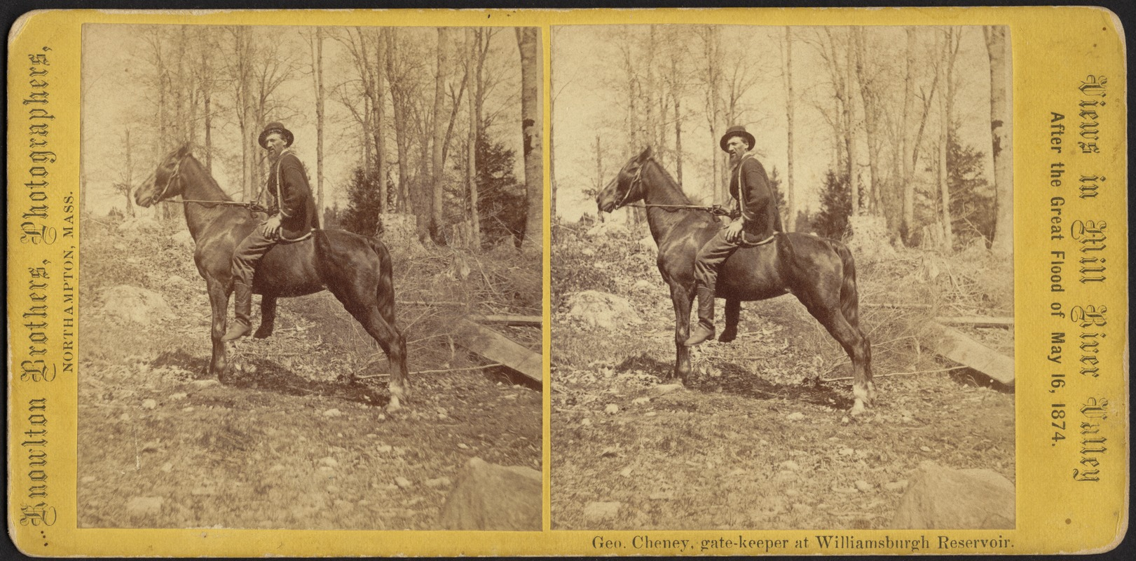 View of George Cheney, gate keeper of Reservoir, on his horse--Williamsburg