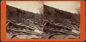 View at cove near Depot, [along Joe Wright Brook], wreck of Iron Bridge where 20 bodies found--Williamsburg