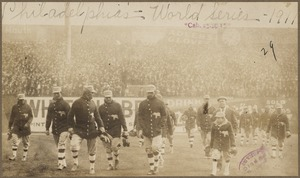 Philadelphia Athletics on field at Shibe Park, 1911 World Series
