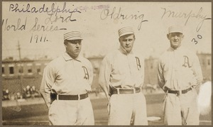 Bris Lord, Rube Oldring and Danny Murphy of the Philadelphia Athletics, 1911 World Series