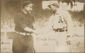 Larry Doyle and Harry Davis shake hands before the first game of the 1911 World Series
