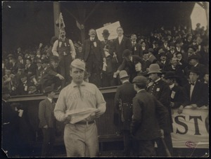 Chick Stahl in front of visitors dugout at the Pittsburgh Ball Grounds, 1903 World Series