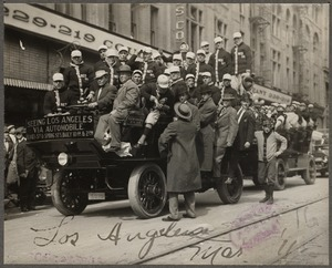 Boston Red Sox players on automobile tour in Los Angeles