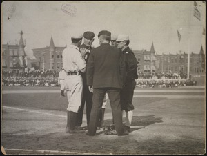 Conference on the field at the Columbia Avenue Grounds, 1905 World Series