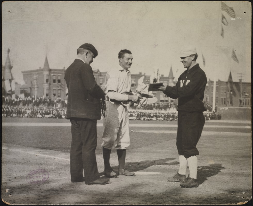 John McGraw and Philadelphia Athletics player, Columbia Avenue Grounds, 1905 World Series