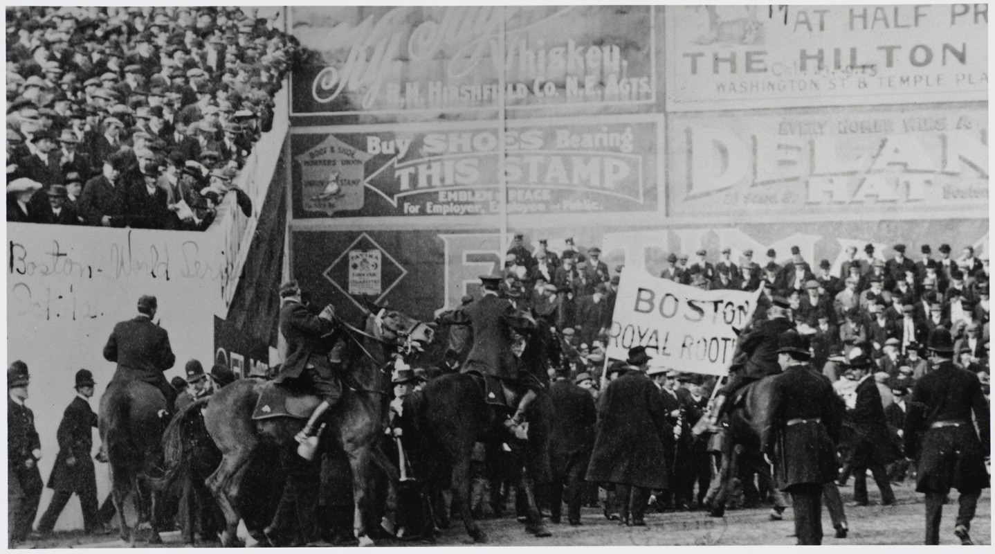 Mounted police battle Boston Royal Rooters during 1912 World Series