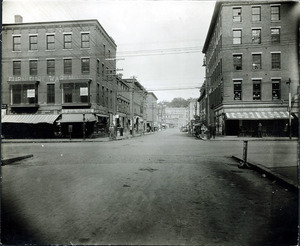Amesbury St. looking north from Common St. (2 copies); Light's wonder clothes; Liggett's Drugs