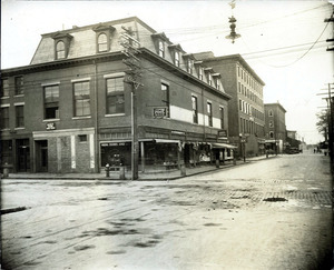 Amesbury St. east side looking south (2 copies); Colonial Pool Room; Charles F. Hickey Jeweler