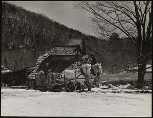 Floyd Fletcher driving up to Farmer Cooke's cook-house Vermont
