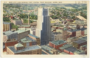 Bird's-eye view showing First Central Trust Building, Akron, Ohio